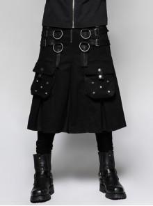 Metal Hasp Leather Bandage Front Pockets Frill Hem Black Punk Kilt