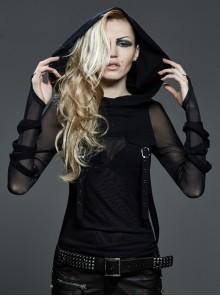 Big Hood Chest Pockets Metal Ring Bandage Roping Mesh Long Sleeve Black Punk T-Shirt