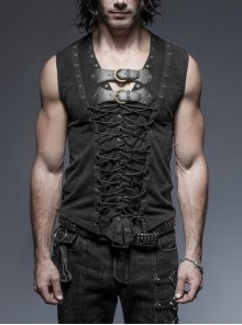 V-Neck Chest Leather Hasp Metal Rings Cross Lace-Up Black Punk Vest