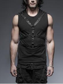 Chest Metal Ring Blasting Cracks Leather Hasp Shoulder Rivet Black Punk Vest
