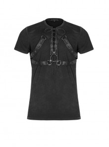 Lace-Up Collar Chest Metal Rings Leather Hasp Black Punk Short Sleeve T-Shirt