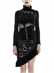 High Collar Chest Lace-Up Waist Splice Mesh Metal Leather Hasp Long Sleeve Black Punk T-Shirt