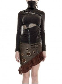 High Collar Chest Lace-Up Waist Splice Mesh Metal Leather Hasp Long Sleeve Brown Punk T-Shirt