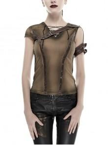 Brown Shoulder Armor Metal Leather Hasp Back Big V-Shaped Cross Lace-Up Punk T-Shirt
