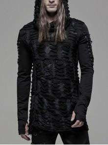 Broken Holes Arm DrawString Long Sleeve Black Punk Hooded Knit T-Shirt