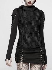 Broken Holes Arm DrawString Long Sleeve Black Gothic Hooded Knit Tight T-Shirt