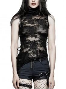 High Collar Elastic Irregular Broken Mesh Side Lace-Up Diagonal Hem Black Gothic T-Shirt