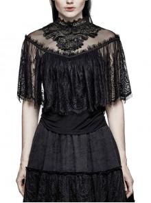 Chest Positioning Flowers Lace Shrug Shawl Buckle Black Gothic T-Shirt
