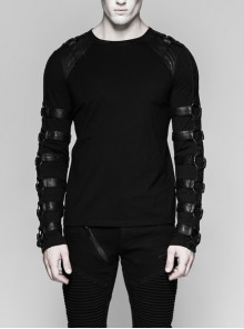 Shoulder Protection Heavy Metal Rings Leather Hasp Long Sleeve Black Punk T-Shirt