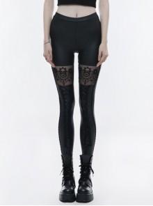 Matt Elastic PU Leather Knitted Splice Mesh Skull Embroidered Black Gothic Leggings