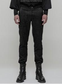 Woven Jacquard High Waist Ribbon Side Pocket Black Gothic Retro Pants