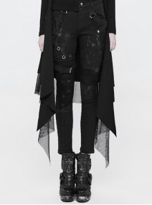 Black Twill Dilapidated Splice Mesh Metal Rings Hasp Punk Trousers