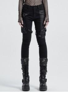 Twill Splice Crack Skin Side Pocket Plastic Buckle Legs Loop Black Punk Tight Trousers