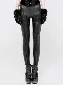 Imitation PU Knitted Floral Pattern Decoration Black Punk Leggings
