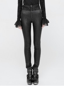 High Waist Flower Weaves The Ribbon Decoration Lace-Up Black Gothic Jacquard Tight Pants