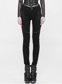 Black Buttock Overlapping Armor Piece Knee Division Metal Nail Punk Long Tight Pants
