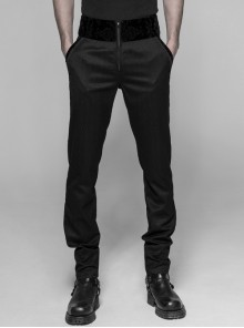 Dark Woven Waist-Head Splice Weft Velveteen Printing Lace-Up Black Gothic Trousers