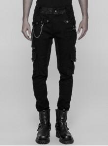 Waist Head Splice Floral Woven Right Side Chain Metal Rivets Decoration Black Punk Trousers