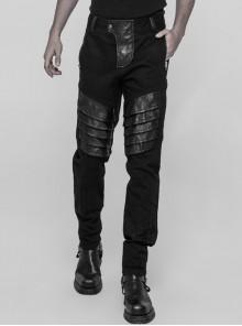 Twill PU Leather Knee Solid Armor Metal Zipper Black Punk Denim Trousers