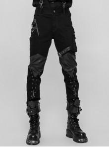 PU Loops Sharp Corner Buckle Knee Part Armor Design Metal Zipper Black Punk Trousers
