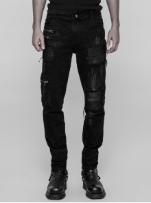 Black Broken Holes Inner Splice Hand-Painted Crafts Cloth Punk Decadent Trousers