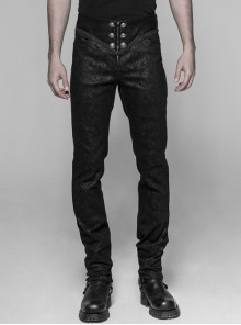 Waist Head Stereoscopic Pattern Leather Metal Buckle Lace-Up Black Gothic Trousers