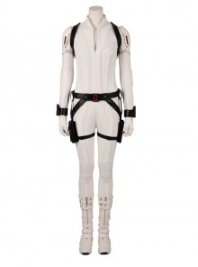 Black Widow Natasha Romanoff White Battle Suit Halloween Cosplay Costume Full Set