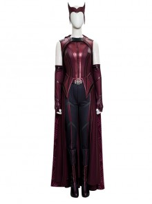 Wanda Vision Scarlet Witch Wanda Django Maximoff Battle Suit Halloween Cosplay Costume Full Set