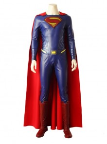 Justice League Superman Clark Kent Blue Battle Suit Halloween Cosplay Costume Bodysuit Full Set