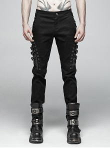 Metal Buckle Eyelet Hasp Ghost Head Rivet Decoration Black Punk Trousers