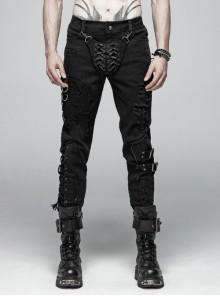 Front Flap Lace-Up Leather Legs Loop Splice Broken Holes Mesh Side Metal Ring Hasp Black Punk Trousers