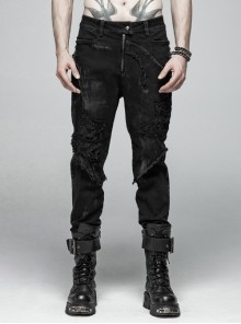 Worn-Out Denim Splice Mesh Raw Edge Metal Ring Decoration Black Punk Trousers