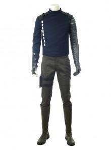 Avengers Infinity War Winter Soldier Bucky Barnes Navy Blue Top Battle Suit Halloween Cosplay Costume Full Set