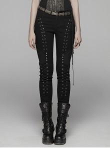 Black Lace-Up Rivet Skull Buckle Punk Tight Pants