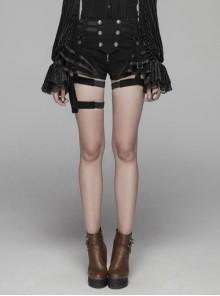 Jean Splice PU Leather Flounce Hem Metal Buckle Leg Loop Black Punk Short Pants