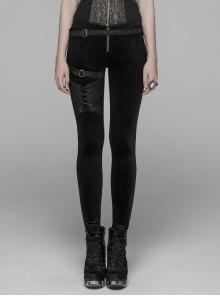 Dark Flower Velvet Lace-Up Metal Buckle Leg Loop Waist Belt Black Punk Leggings