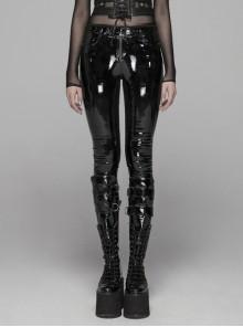 Velvet Patent PU Leather Splice Weft Velvet Placket Zipper Metal Buckle Loop Black Punk Leggings