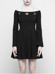 Steam Punk Female Black Long Sleeve Lunar Strapless Dress