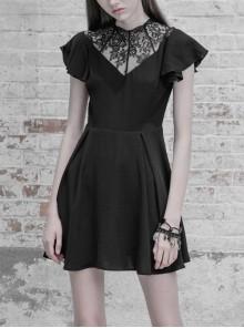 Gothic Female Lace Stitching V-neck High Waist Chiffon Dress