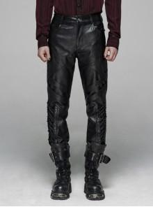 Dark Grain PU Leather Skull Buckle Side Lace-Up Black Punk Pants