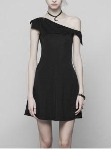 Gothic Female Dark Bat Collar High Waist Dress