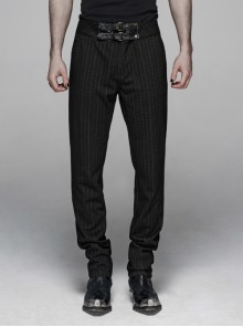 Vertical Knitted Waist Metal Buckle Leather Hasp Black Gothic Trousers
