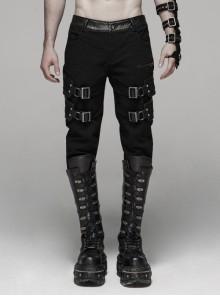 Twill Fabric Coarse Grain Skull Button Metal Buckle Leather Loop Black Punk Trousers