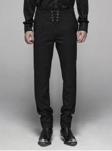 Dark Jacquard Waist Lace-Up Metal Swallow Decoration Side Lace Pattern Black Gothic Suit Trousers