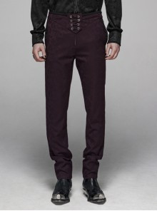 Dark Jacquard Waist Lace-Up Metal Swallow Decoration Side Lace Pattern Wine Red Gothic Suit Trousers