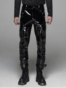 Bright Lacquer Skull Button Metal D-Buckle Black Punk Pants
