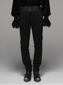 Black  Striped Waist Three-Dimensional Jacquard Lace-Up Hand-Sewing Buttons Black Punk Pants