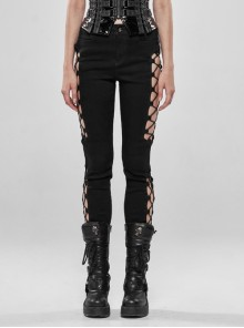 Side Hollow-Out Lace-Up Metal Skull Button Black Punk Tight Pants