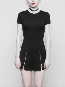 Steam Punk Female Black Elastic Slim Fitting Metal Zipper Dress