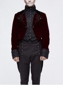 Gothic Embroidered Metal Nail Black Jacquard Red Velvet Dovetail Men Coat